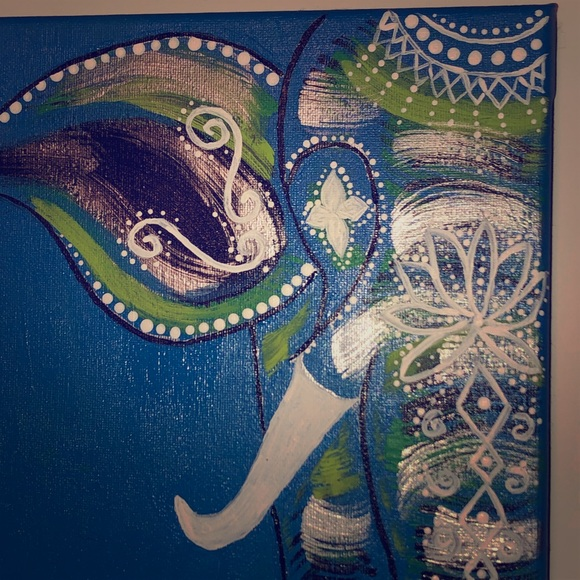 BoHo Elephant painting on stretch canvas 8x10 Boutique